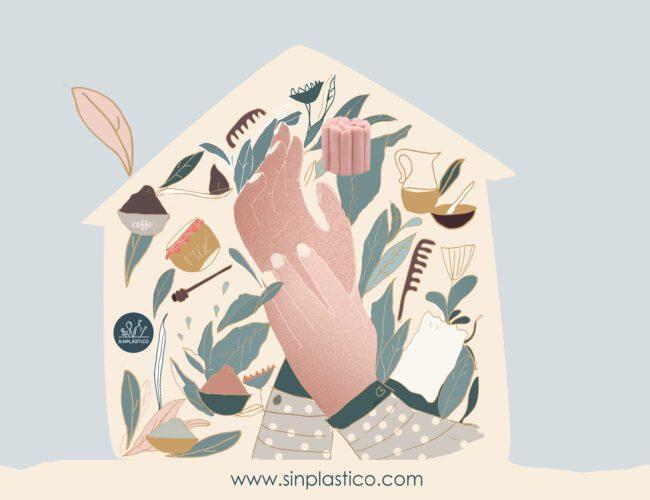 cuatro productos de cuidado personal sin plástico